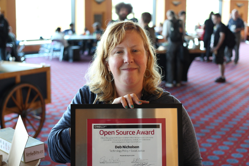 Deb Nicholson receiving the O'Reilly Open Source Award