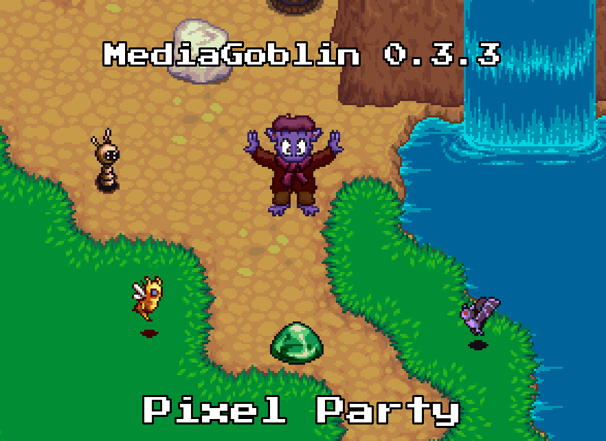 MediaGoblin 0.3.3: Pixel Party banner