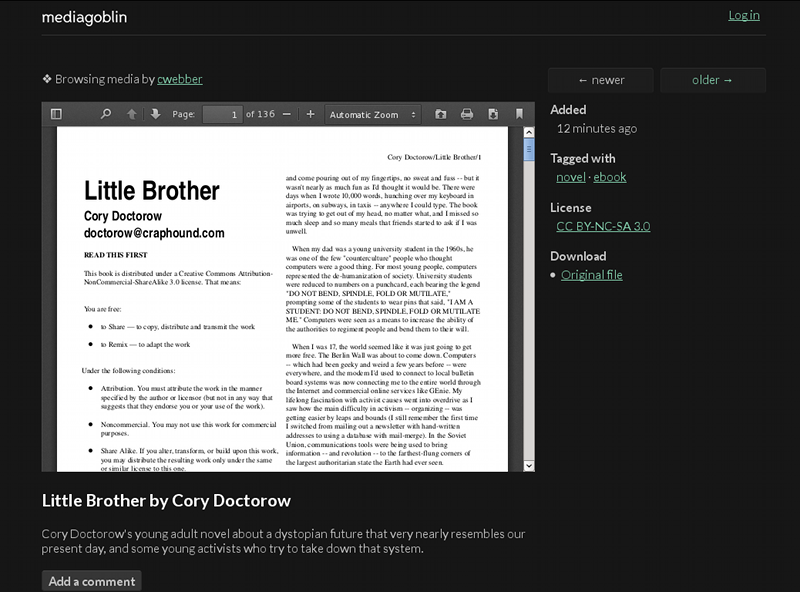 Little Brother PDF showing in MediaGoblin