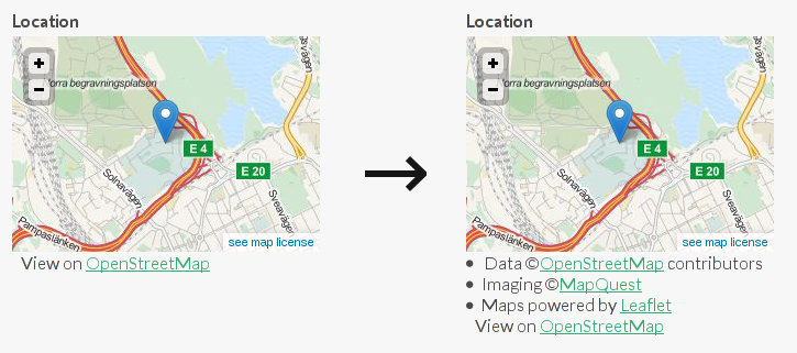 New OpenStreetMap license dropdown